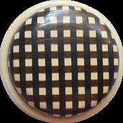 Antique Button 2 Piece Celluloid Checkered Plaid