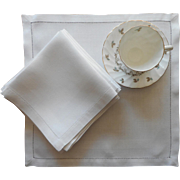 Breakfast Napkins Antique Damask Linen Classic Set 12 Satin Stripe