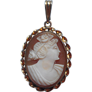 Vintage Cameo Pendant Carved Shell Ribbon Twist Frame