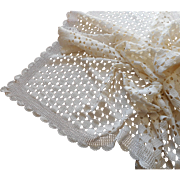 Vintage Tablelcoth Heavy Crocheted Lace Cream Color 82 x 56