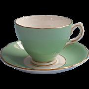 Vintage English Bone China Cup Saucer Colclough Jadeite Green Gold White
