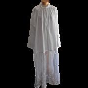 Antique Alb Linen Tambour Net Lace Vestment Priest Robe