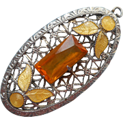 1930s Pendant Filigree Vintage Enamel Glass Stone Yellow Faux Topaz