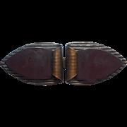 Antique Bakelite Cloak Cape Fastener Clasp Metal Painted Brown Over Black