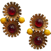 1930s Dress Clips Pair Vintage Yellow Beads Red Stones
