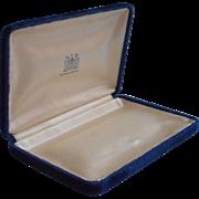 Vintage Blue Velvet White Satin Jeweler's Box For Necklace or Pearls Presentation