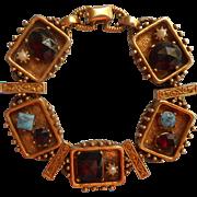 Vintage Slide Style Bracelet Slider Victorian Revival Faux Garnets Faux Turquoise Faux Pearls