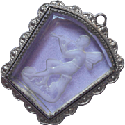 1920s Pendant Glass Intaglio Male Fairy Playing Flute