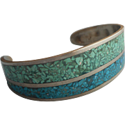 Vintage Cuff Bracelet Alpaca Silver Crushed Stone Inlay Turquoise Color Aqua