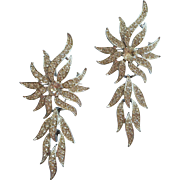 Pair Pins 1960s Sarah Coventry Evening Accent Reticulated Rhinestone