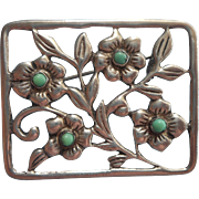Vintage Mexico Signed J.P.L. Pin 865 Silver Turquoise Flowers In Rectangle
