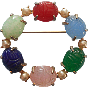 Vintage Scarab Pin Glass Stones Faux Pearls