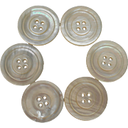 Antique Buttons Large Set 6 Good Quality Mother of Pearl