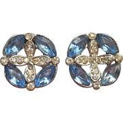Vintage Buttons Blue And Clear Rhinestones Pair 1950s