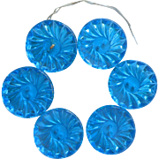 Vintage Large Glass Buttons Set 6 Bright Turquoise Blue Capri Blue