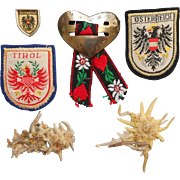 Vintage Tirol Tyrol Badges Felt Paper Edelweiss Etc