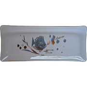Vintage Psyche Midcentury Glass Bar Snacks Tray Fish Blue Gold