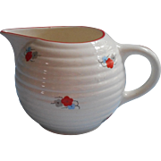 Vintage Czech Art Deco China Milk Pitcher Cream Red Flowers Trim Blue