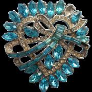 Vintage Pin 1950s Aqua Rhinestones Heart Shape TLC