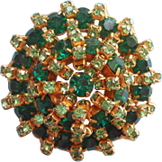 Vintage Green Rhinestone Pin Built Up Layered Two Shades