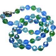 Vintge Necklace AB Crystal Beads Blue Green Early 1960s