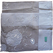 Vintage Hankie Unused 1960s Embroidery Applique Rose Butterfly Original Import Label