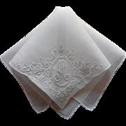 Monogram M Vintage Hankie Madeira Hand Embroidered Linen