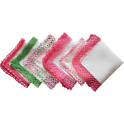 Vintage Hankies All With Pink or Green Crocheted Lace All Linen