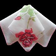 Vintage Hankie Printed Linen Roses Shaped Hem