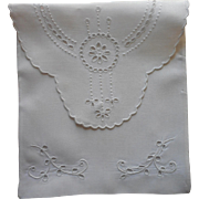 Antique Cutwork Linen Hand Embroidery Stockings or Hankie Case Pouch Envelope