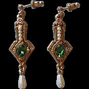 Vintage Earrings 1928 Jewelry Company Pierced Pink Green Faux Pearl Dangle