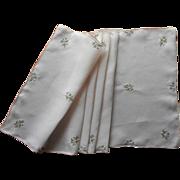Vintage Runner Peach Madeira Linen Hand Embroidery Flowers