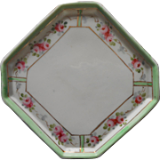 Nippon Perfume Tray 1910s Antique China Pink Green White Octagon