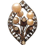 1920s Pin Filigree Vintage Brass Glass Faux Pearls Clear Stones