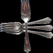 Hampden 1916 Antique Silver Plated Salad Dessert Forks 4