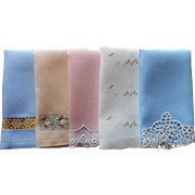 Vintage Guest Towels Linen Hand Embroidery Lace Blue Pink Golden Yellow