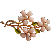 Vintage Pin ART Signed Faux Angelskin Coral Faux Pearls Flowers