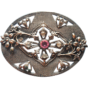 Antique Sash Pin Pink Clear Stones Silvered Brass Flowers