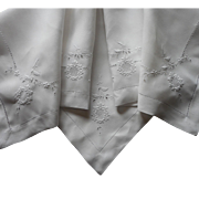 Antique Tea Tablecloth Cutwork Linen Hand Embroidery All White