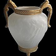 Tiffin Vase Ormolu Cherubs Handles Filigree Vintage 1930s Satin Poppy