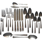 Monogram S 1920s Four Place Settings Set Anniversary 1923 Silver Plated Flatware
