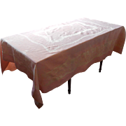Antique Pink Damask Tablecloth 1910s Roses 86.5 x 70