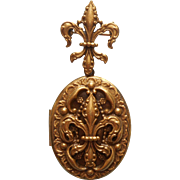 Vintage Locket Pin Edwardian Revival Fleur De Lis Watch Pin Big Locket Matching