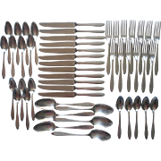 Vintage 1920s Set 12 Place Settings Silver Plated Flatware Plain Simple