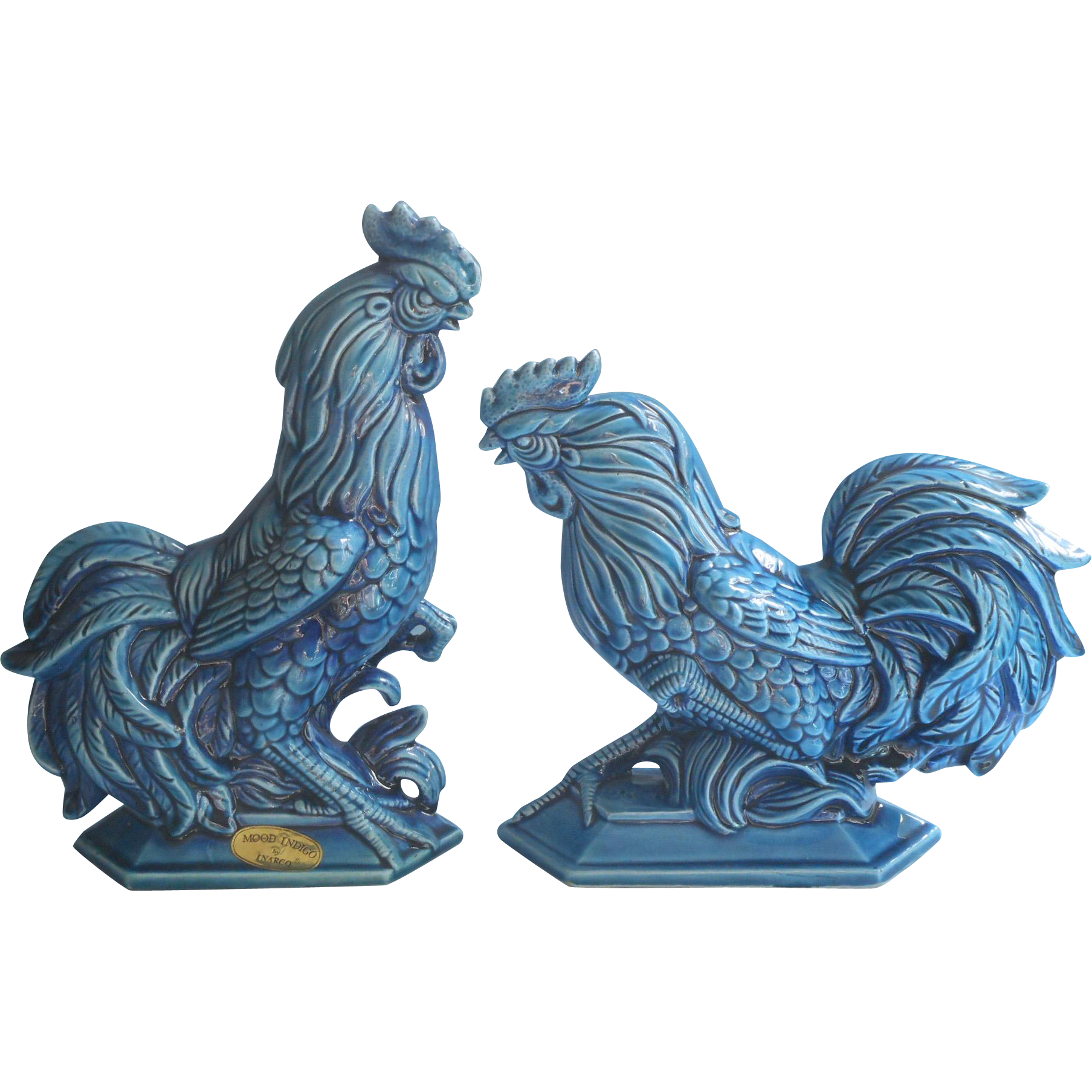 vintage inarco blue mood roosters chickens original label pottery