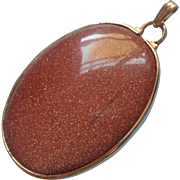 Vintage Large Goldstone Pendant Gold Filled Bezel Set