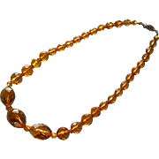 Vintage 1930s Neclkace Amber Colored Crystal Cut Faceted Glass Beads