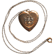 Vintage U.S.N. Navy Sweetheart Locket 1940s Gold Filled On Chain Necklace