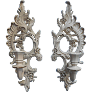 Vintage Candle Sconces Wall Pair Syroco 1431 White Washed  Gold Color