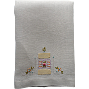 1920s  Towel Hand Embroidery Applique Linen
